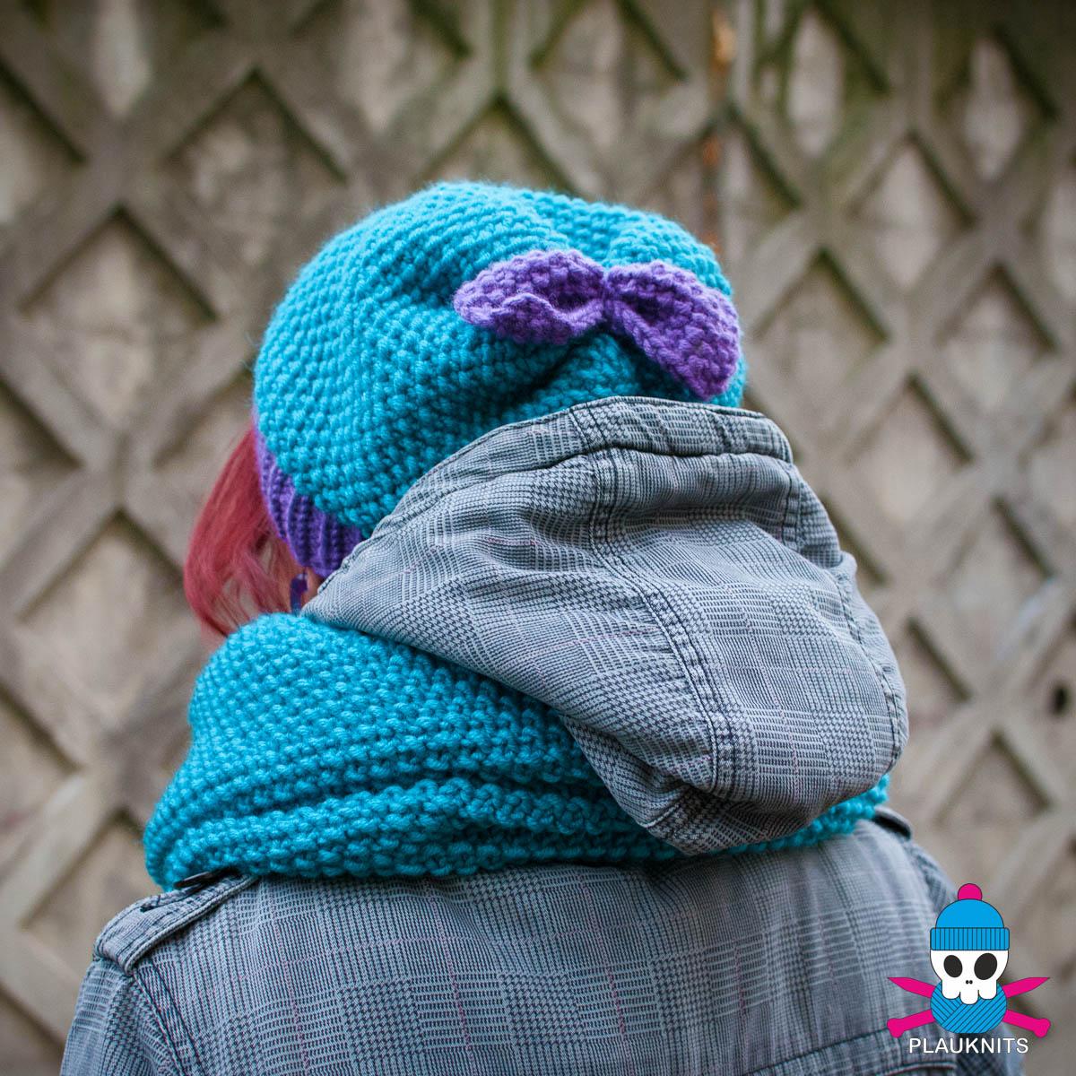 Бирюзовый вязаный комплект шарф-снуд и шапка PLAUKNITS