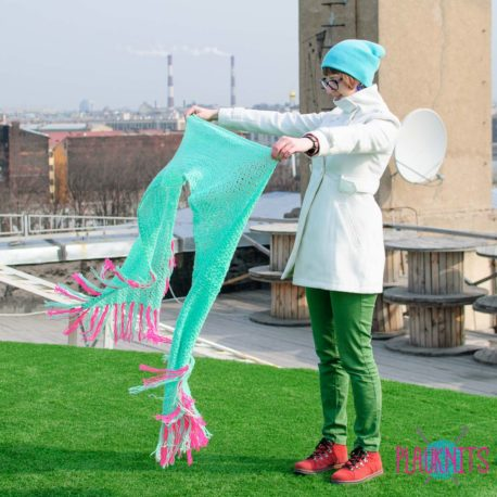 Ментоловый длинный вязаный шарф Аквамариновые дни