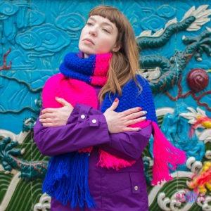 Сине-розовый длинный вязаный шарф Гибридизация