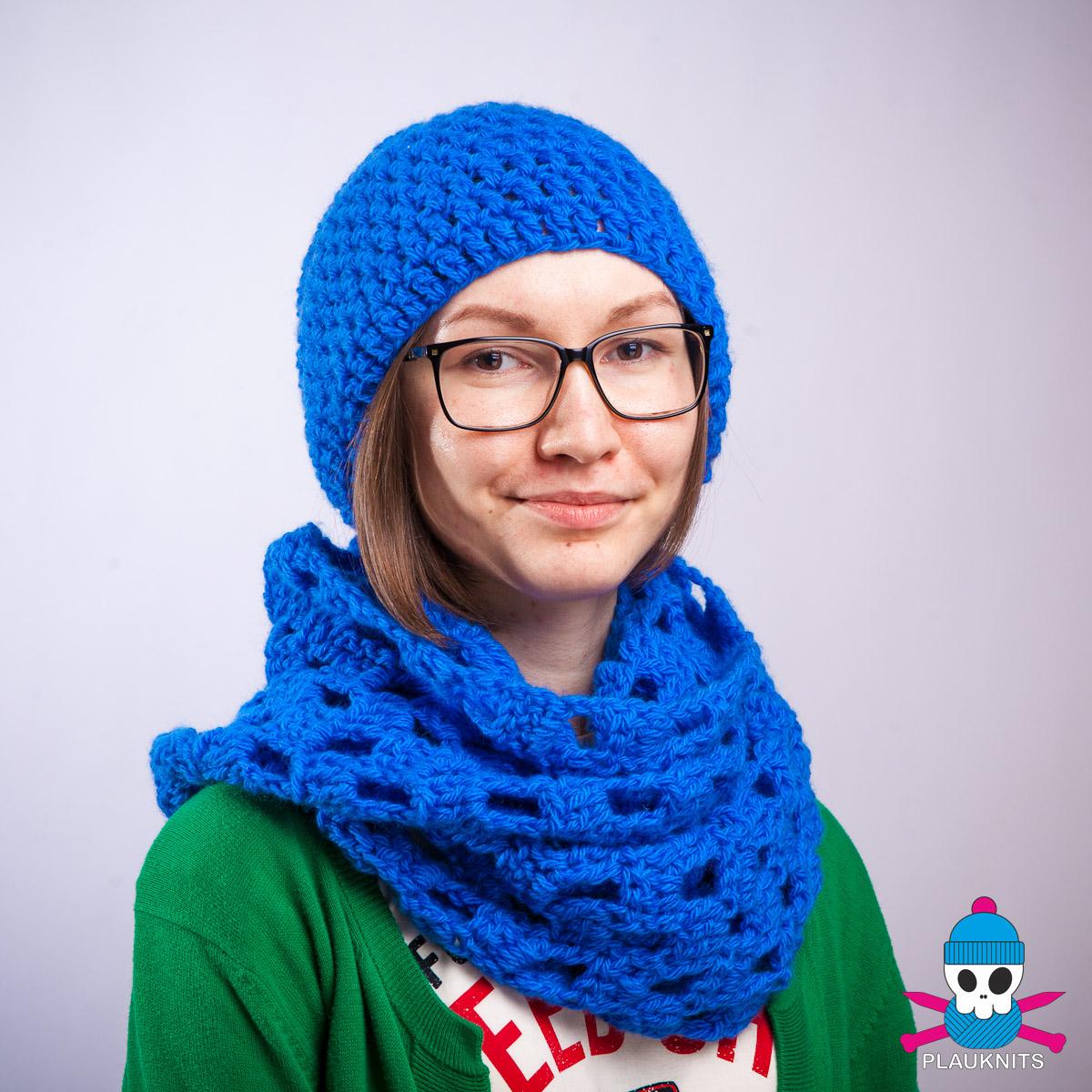 Синий вязаный комплект шарф снуд и шапка Кристалл