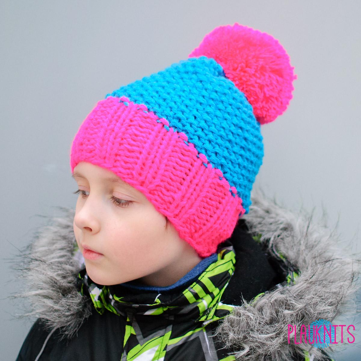 Сине-розовая вязаная шапка с помпоном Квант