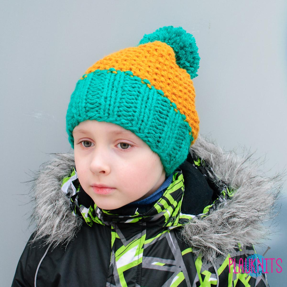 Жёлто-зелёная вязаная шапка с помпоном Квант