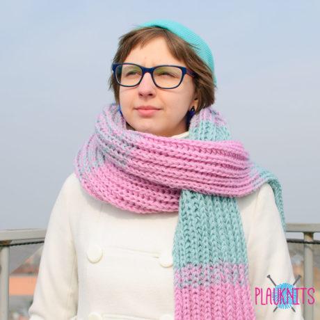 Длинный вязаный шарф Пастельное утро