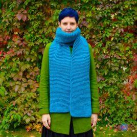 Длинный вязаный шарф Синяя Улитка
