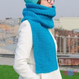 Бирюзовый длинный вязаный шарф Улитка