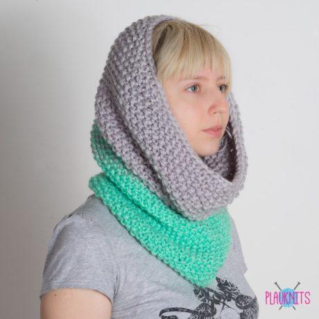 Ментолово-серый вязаный шарф-снуд Градиент