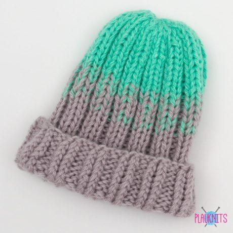Ментолово-серый вязаный комплект шапка и шарф-снуд Градиент