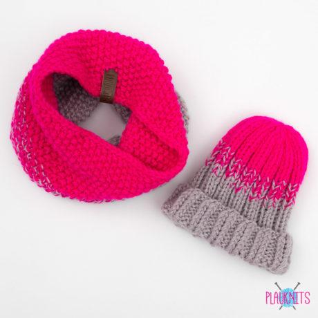 Розово-серый вязаный комплект шапка и шарф-снуд Градиент