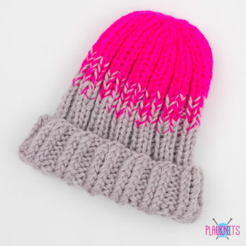 Розово-серый вязаная шапка Градиент