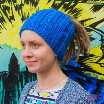 Синяя вязаная повязка на голову для дред, дредошапка Энтальпия
