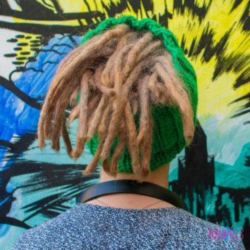 Зелёная вязаная повязка на голову для дред, дредошапка Энтальпия