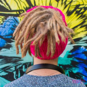 Розовая вязаная повязка на голову для дред, дредошапка Энтальпия