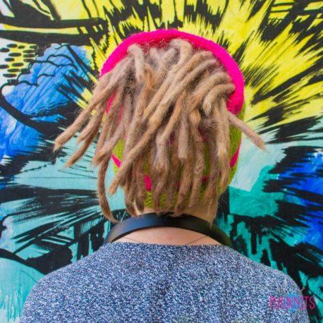 Розово-зелёная вязаная повязка на голову для дред, дредошапка Экзо