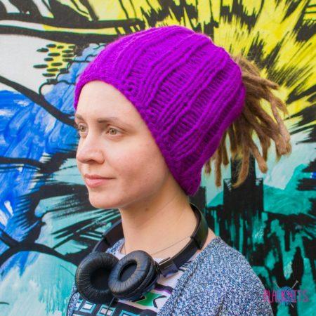 Фиолетовая вязаная повязка на голову для дред, дредошапка Энтальпия
