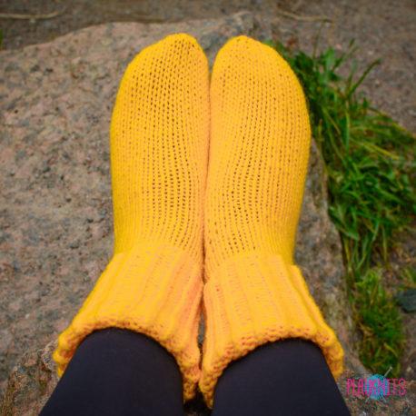 Жёлтые вязаные носки Полимер