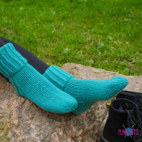 Бирюзовые вязаные носки Полимер