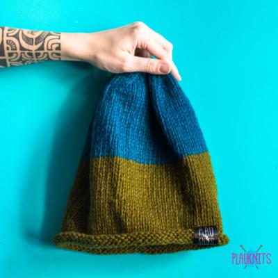 Болотно-синяя свободная вязаная шапка ручной работы для дред Осень